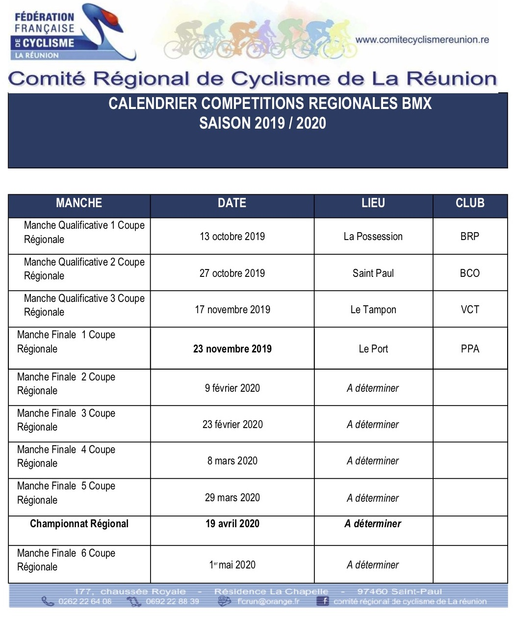 Calendrier Bmx 2019.Clic Bmx Ile De La Reunion
